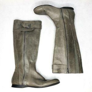 Enzo Angiolini Zayra Pebbled Leather Gray Side Zip